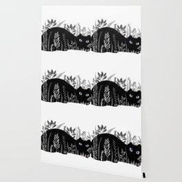 Garden Cat Black And White Wallpaper