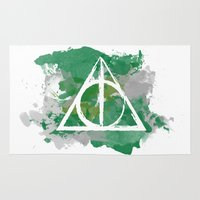 slytherin Area & Throw Rugs featuring The Deathly Hallows (Slytherin) by FictionTea