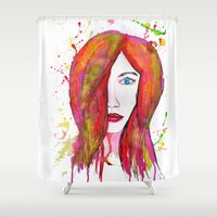 valentina Shower Curtains featuring Valentina by Laurie Art Gallery