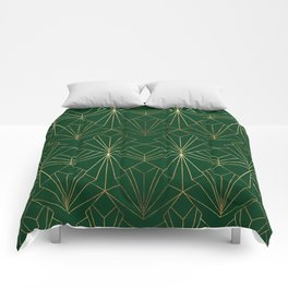 Art Deco in Gold & Green Comforters