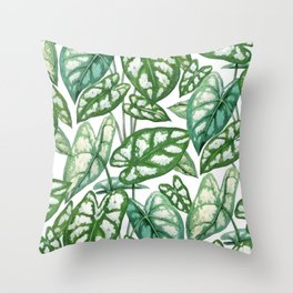 Green tropical leaves IV Throw Pillow
