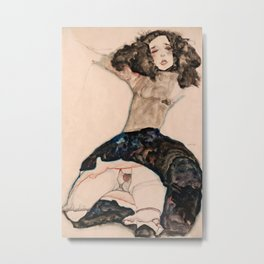 Egon Schiele - Black-Haired Girl with Lifted Skirt Metal Print