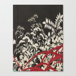 Kuro-tomesode with a Pair of Pheasants in Hiding (Japan, untouched kimono detail) Canvas Print