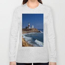 Crispy Morning at Montauk Point Lighthouse Long Island New York Long Sleeve T-shirt
