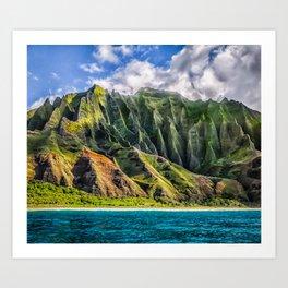 Na' Pali Spires, Kauai, Hawaii  Art Print