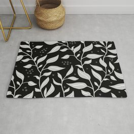 Contemporary Graphic Art Design Leaves Pattern Rug