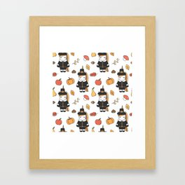 cartoon thanksgiving pattern with pilgrim unicorns, pumpkins, apples, pears, leaves and acorns Framed Art Print