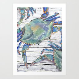 Beautiful Blue Swimmer Art Print