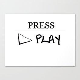 Press Play: White Canvas Print