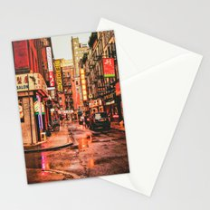New York City Rain in Chinatown Stationery Cards