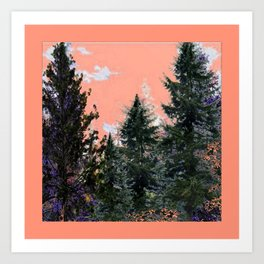CORAL PINK WESTERN PINE TREES MOUNTAIN LANDSCAPE Art Print