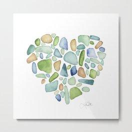 Heart of the Sea, sea glass watercolor Metal Print
