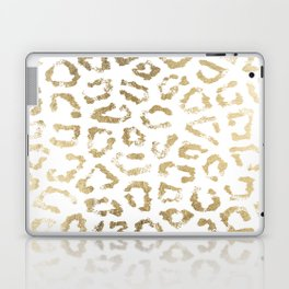Modern white chic faux gold foil leopard print Laptop & iPad Skin