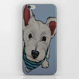 """Painting of a West Highland White Terrier """"Westie"""" Puppy on a light blue background  iPhone Skin"""