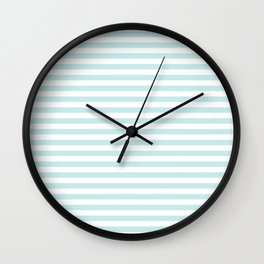 Duck Egg Pale Aqua Blue and White Wide Thin Horizontal Deck Chair Stripe Wall Clock