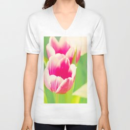Spring in Pink and White Unisex V-Neck