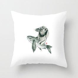 Rabbit & Rocketfish Throw Pillow
