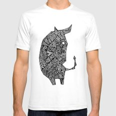COW White SMALL Mens Fitted Tee