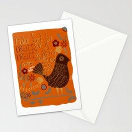 Folky Typography Bird Art Stationery Cards