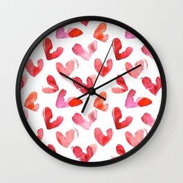 Cute pink hearts watercolor Wall Clock