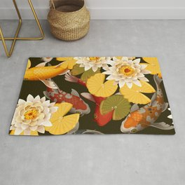 Autumn Lotus Pond With Lush Water Lily Flowers Floral Kingdom Sumptuous Fantasy Flower Pattern Rug