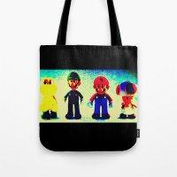 mario bros Tote Bags featuring Super Mario Bros. by Silvio Ledbetter