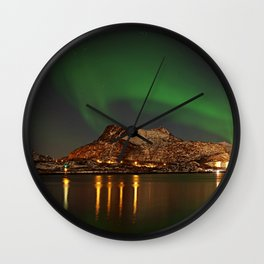 Landscape with the Northern Lights Wall Clock