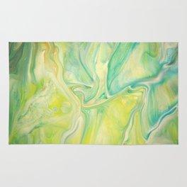 Fluid Nature - Lemon & Lime Sorbet - Acrylic Pour Art Rug