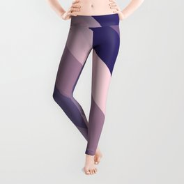 Modern Girly Blue Pink Abstract Stripes Art Leggings