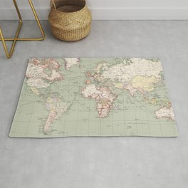 Vintage Map of The World (1915) Rug