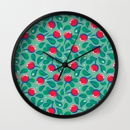 Cranberries pattern (on light green background) Wall Clock