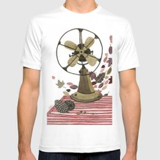 Still life with vintage fan and autumn leaves Mens Fitted Tee MEDIUM White