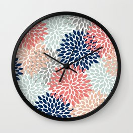 Floral Bloom Print, Coral, Pink, Pale, Aqua, Blue, Gray, Navy Wall Clock