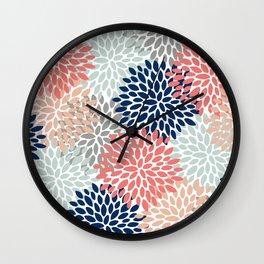 Floral Bloom Print, Living Coral, Pale Aqua Blue, Gray, Navy Wall Clock