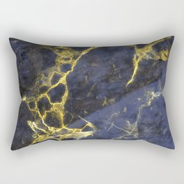 Classic Antique Blue Marble on Glam Gold Marble Rectangular Pillow