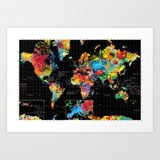 World Map Black - 1 Art Print
