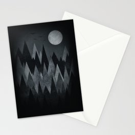Dark Mystery Abstract Geometric Triangle Peak Wood's (black & white) Stationery Cards
