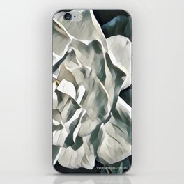 White Azalea Flower with Green Leaves iPhone Skin