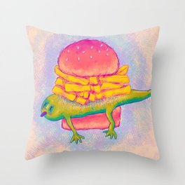 French Fry Newt Burger with Special Sauce Throw Pillow