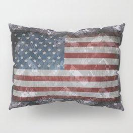 Periwinkle Purple Digital Camo Chevrons with American Flag Pillow Sham