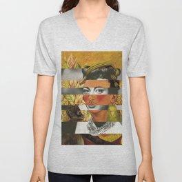 Frida Kahlo's Self Portrait with Parrot & Joan Crawford Unisex V-Neck