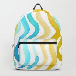 Wavy lines - yellow and blue Backpack