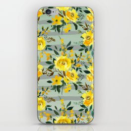 Modern hand painted yellow green watercolor stripes floral iPhone Skin