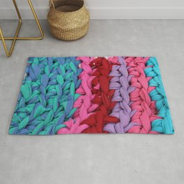Striped knitted rag rug blue pink Rug