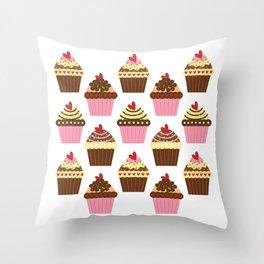 Cupcake Love Pattern Throw Pillow