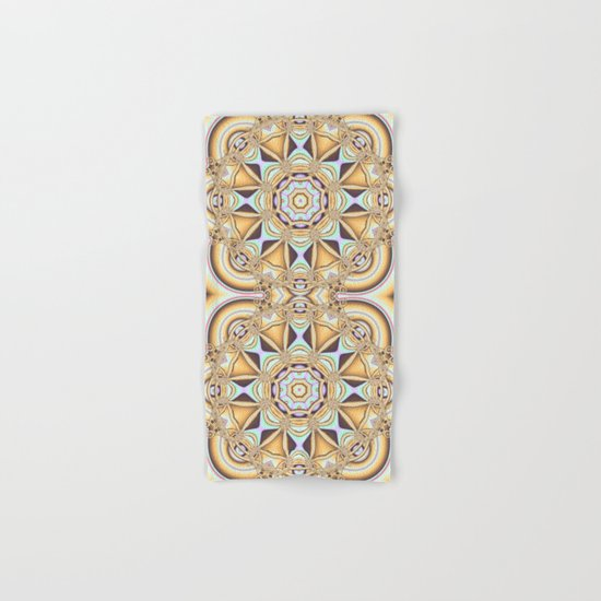 Elegant golden geometric kaleidoscope Hand & Bath Towel