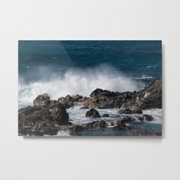 Lava Rock Ocean Spray Metal Print