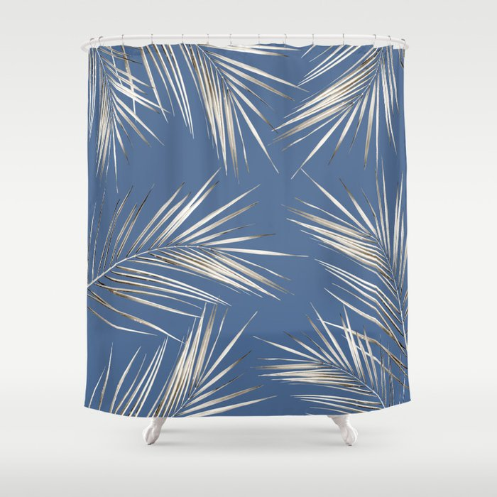 White Gold Palm Leaves On Ocean Blue Shower Curtain