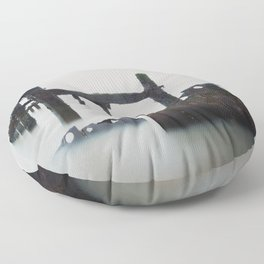 A photograph of old sea defenses  Floor Pillow