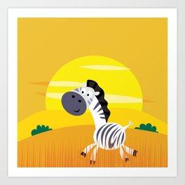 Zebra with Golden Africa sun : Kids art Shop Art Print